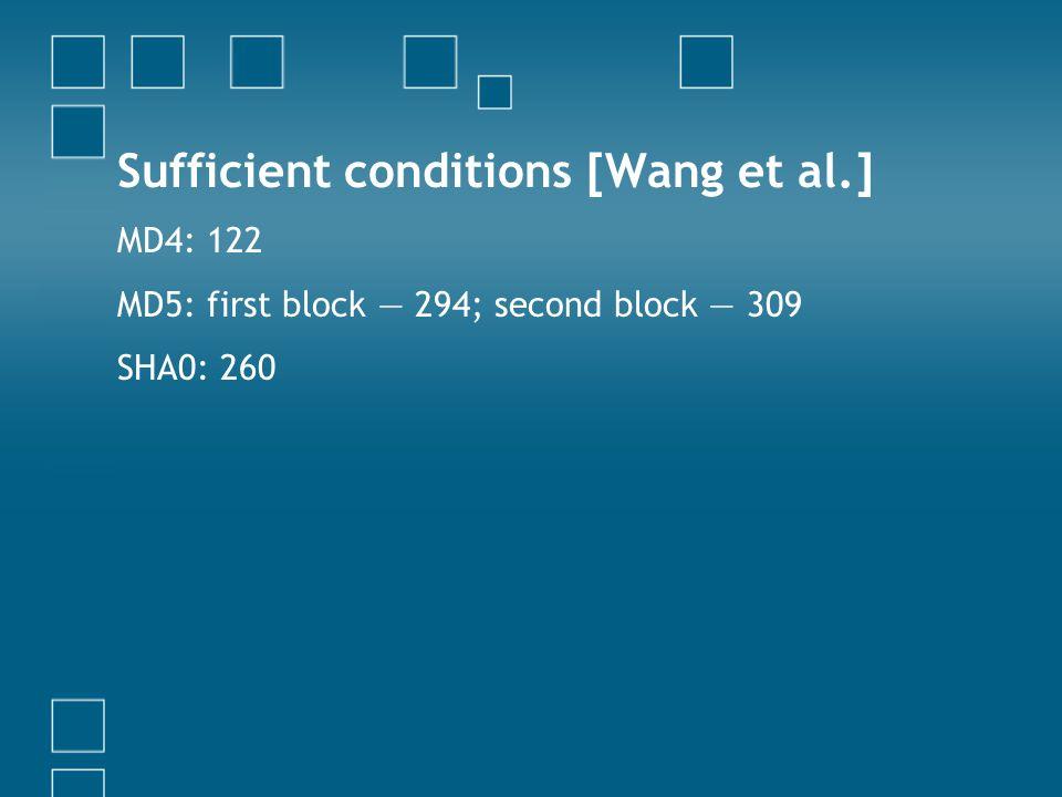 Sufficient conditions [Wang et al.]
